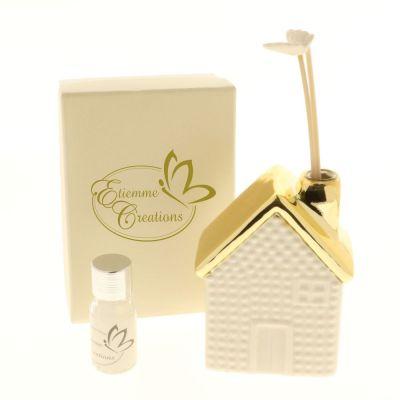 GOLD Profumatore casa in porcellana con decoro oro in scatola regalo