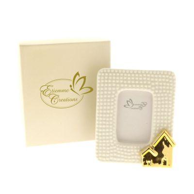 GOLD Cornice portafoto porcellana decoro oro 10x13 cm in scatola regalo