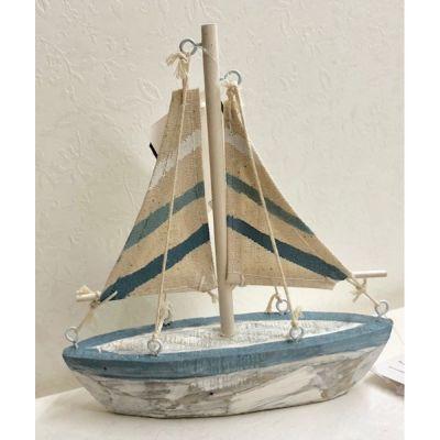 Barca a vela in legno e tessuto 17x15 cm BOMBONIERA tema mare