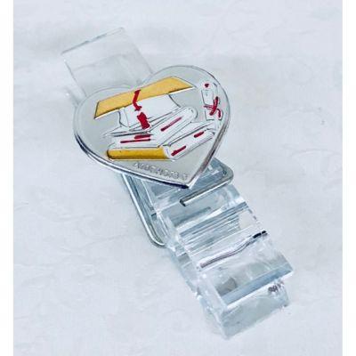 Molletta pinza plexiglass c/ placca argento LAUREA bomboniera