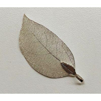 Foglia in metallo ARGENTO 3X5 cm DECORAZIONE BOMBONIERA