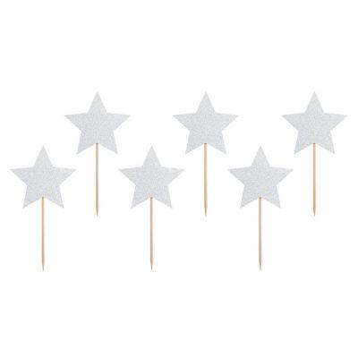 6 PZ Cake Topper CUPCAKE forma di stella festa tema UNICORNO ARCOBALENO