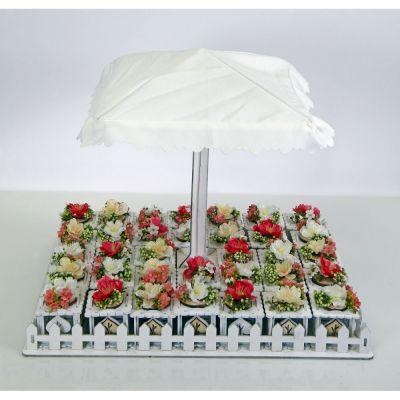 Giardino 34 scatole legno portconfetti fiori artificiali e ombrellone