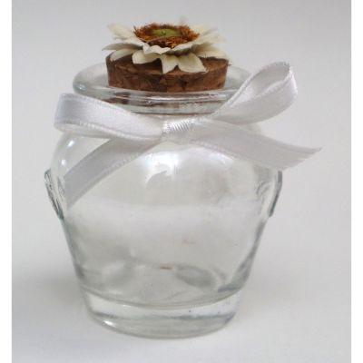 Barattolino vetro portaconfetti anfora con girasole crema BOMBONIERA