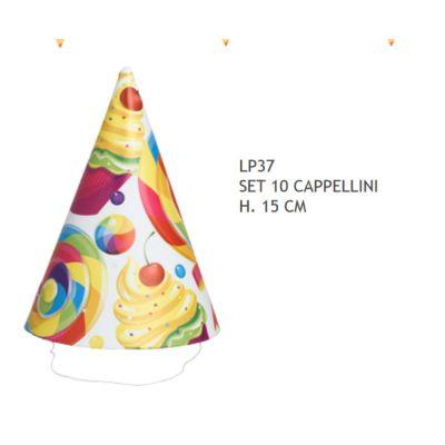 10 PEZZI Cappello cappellini carta colorati COMPLEANNO design candy
