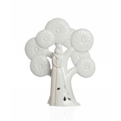 Coppia Sposi Con albero della vita porcellana e luce led BOMBONIERA