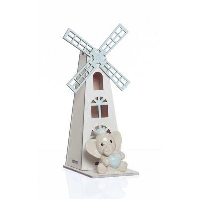 3X Elefante in resina CELESTE con mulino a vento in legno BOMBONIERA