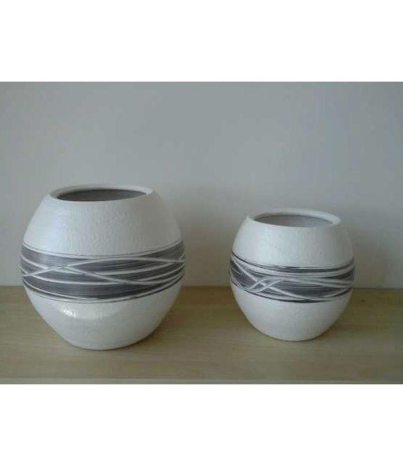 Set 2 pezzi Caspo vaso ceramica 11.5x20 cm e 10x16 cm BIANCO E GRIGIO