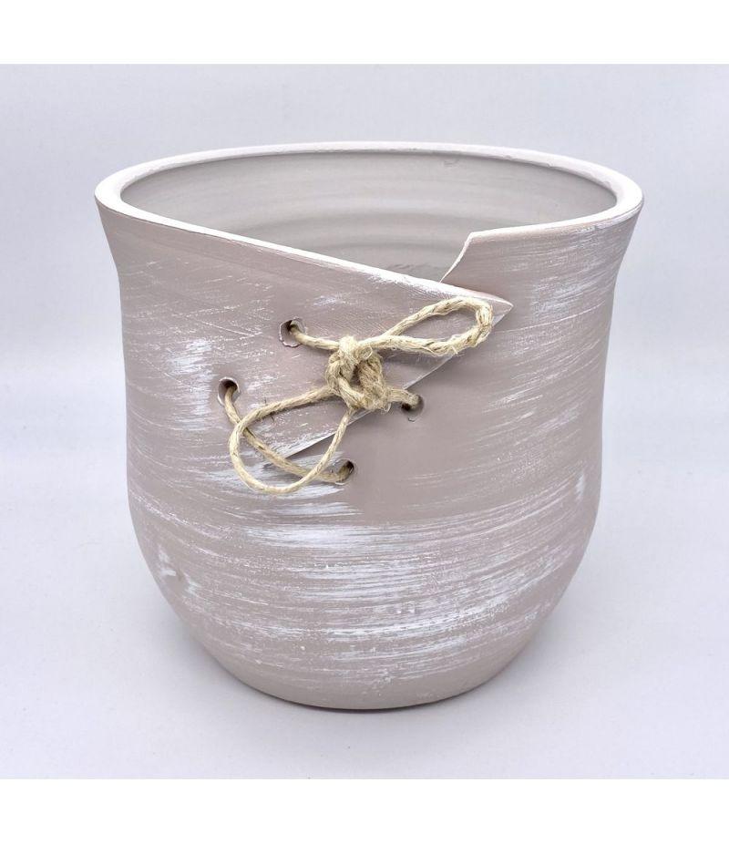 Caspo vaso in ceramica BEIGE con cordoncino 22X22 cm