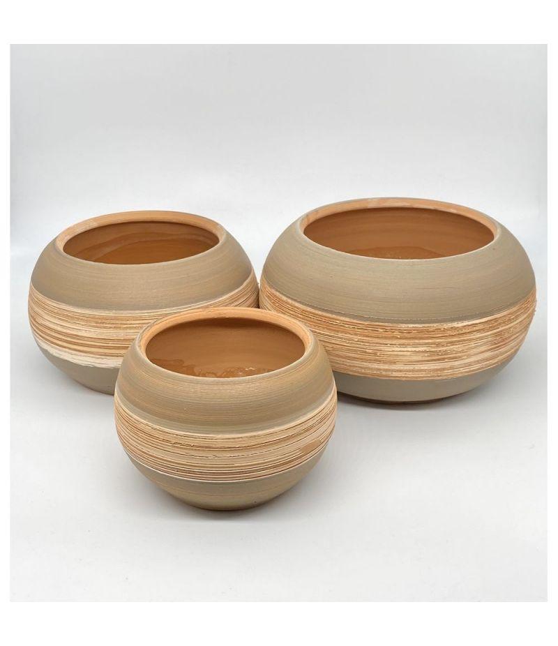 Set 3 Pezzi Caspo vaso ceramica LINEA NATURALE 13x16 11x14 10x11 cm