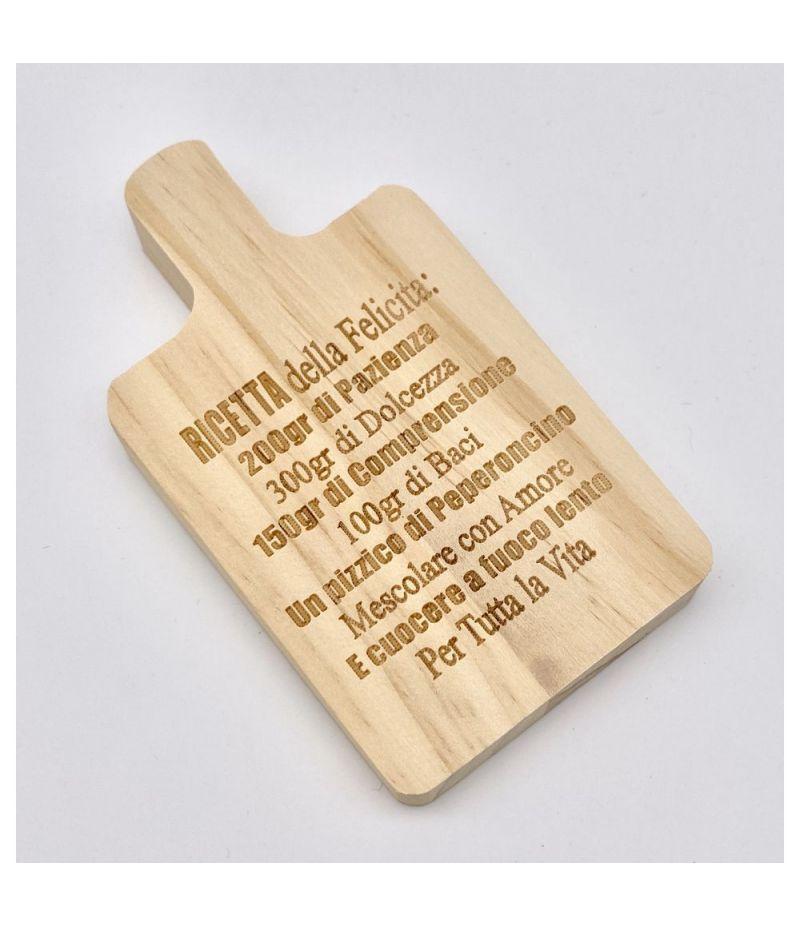 Piccolo Tagliere in legno 12x7 cm RICETTA FELICITA' bomboniera