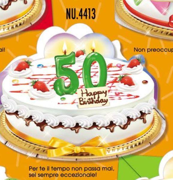 Biglietto Auguri Compleanno 50 Anni A Forma Di Torta