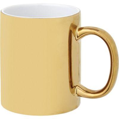Tazza mug colazione in ceramica da 350 ml Gleam con esterno lucido oro