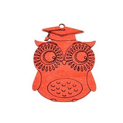 GUFO GUFETTO legno rosso con tocco 4 cm DECORAZIONE BOMBONIERA LAUREA