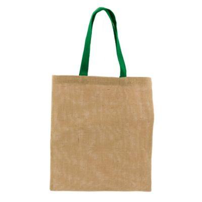 Borsa Shopper ecologica in juta e cotone 38x42 cm con manici verdi