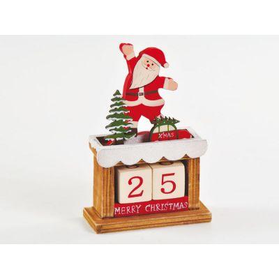 Calendario DELL'AVVENTO con BABBO NATALE in legno numeri da 1 a 25