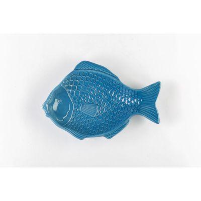 Vassoio Mare in ceramica a forma di pesce blu 25x16.5x3 cm BOMBONIERA