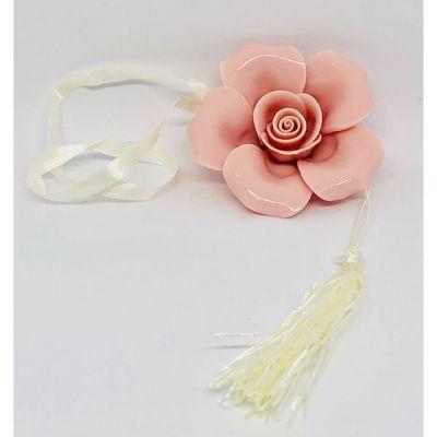 Rosa Appendino con calamita in porcellana ROSA 6.5x2.5cm BOMBONIERA