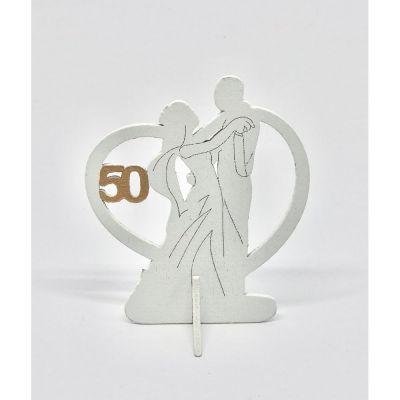 Coppia Sposi legno 8 cm con numero 50 bomboniera nozze ORO