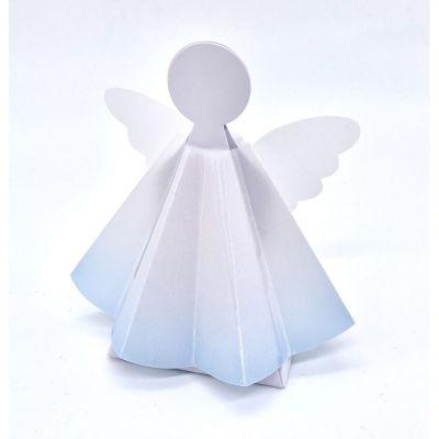 Scatolina portaconfetti ANGELO con vestito di pergamena CELESTE