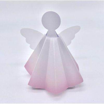 Scatolina portaconfetti ANGELO con vestito di pergamena ROSA