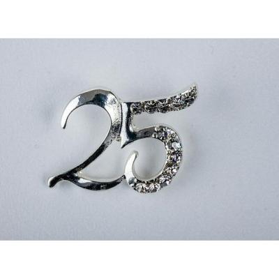 Applicazione bomboniera numero 25 anniversario nozze ARGENTO
