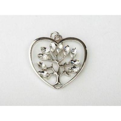 Ciondolo Cuore albero della vita in metallo 3 cm decorazione BOMBONIERA
