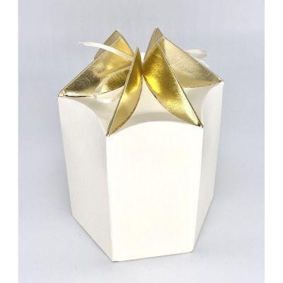 Scatola carta ESAGONALE crema e oro PER BOMBONIERA 14x12x13.5 cm