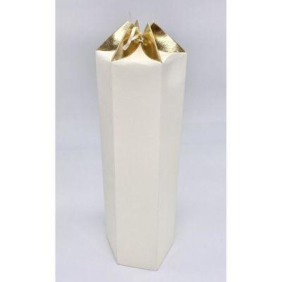 Scatola carta ESAGONALE crema e oro PER BOMBONIERA 11.5x10x31 cm
