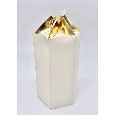 Scatola carta ESAGONALE crema e oro PER BOMBONIERA 12.5X10.5X18.5 cm