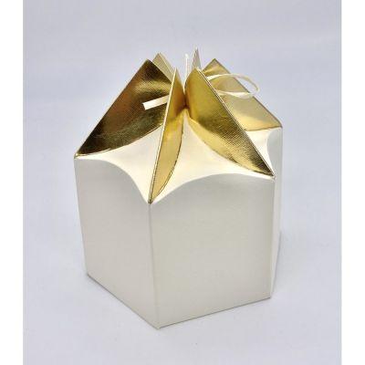 Scatola carta ESAGONALE crema e oro PER BOMBONIERA 14x12x 9 cm