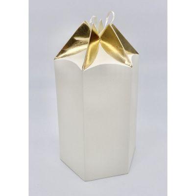 Scatola carta ESAGONALE crema e oro PER BOMBONIERA 15x13x20  cm