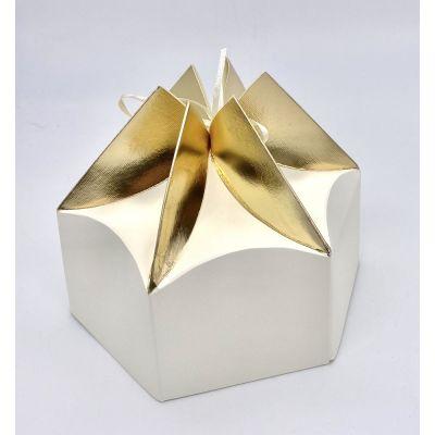 Scatola carta ESAGONALE crema e oro PER BOMBONIERA 19x16x8.5 cm