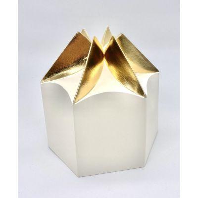 Scatola carta ESAGONALE crema e oro PER BOMBONIERA 19x16.5x12 cm