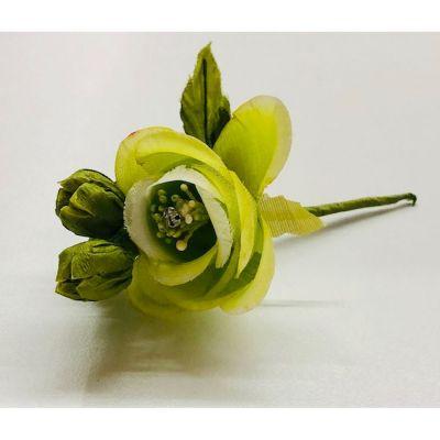 Pick Rosa Rosellina VERDE con brillantino decorazione FIORE BOMBONIERA.