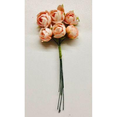 6 PEZZI Rosa Rosellina Baby PESCA fiore artificiale bomboniera