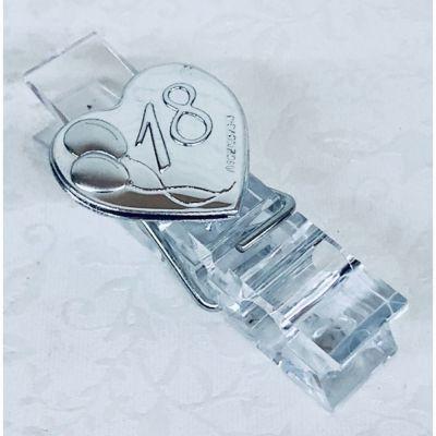 Molletta pinza plexiglass c/ placca argento DICIOTTESIMO bomboniera