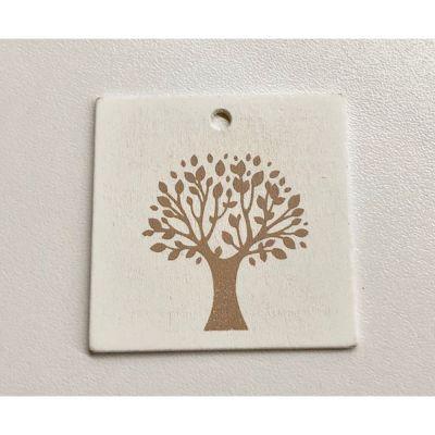 Targhetta bianca legno albero della vita 5.5 cm decorazione bomboniera