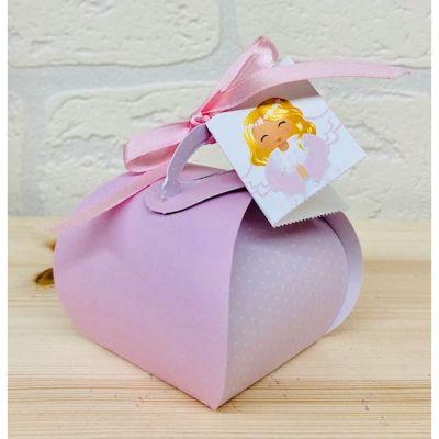Mini cesto carta portaconfetti con biglietto ANGELO ROSA bomboniera