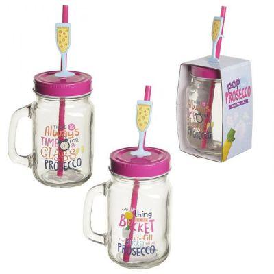 Bicchiere Barattolo vetro PROSECCO SLOGAN con tappo e cannuccia