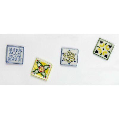 1 PZ Calamita magnete mattonella MAIOLICA porcellana BOMBONIERA cm 3x3