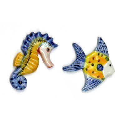 1 PZ Calamita magnete porcellana Cavalluccio Marino o pesce BOMBONIERA
