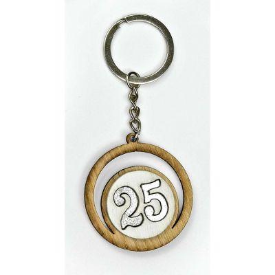 Portachiavi legno numero 25 anniversario nozze ARGENTO BOMBONIERA