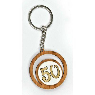 Portachiavi legno numero 50 anniversario nozze ORO BOMBONIERA