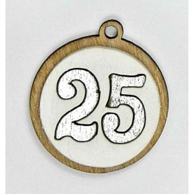 Decorazione bomboniera legno numero 25 Anniversario nozze argento