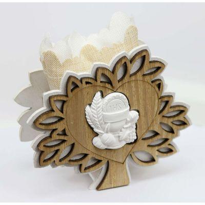 Albero della vita legno portaconfetti con simbolo COMUNIONE bomboniera
