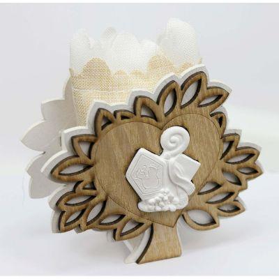 Albero della vita legno portaconfetti con simbolo CRESIMA bomboniera