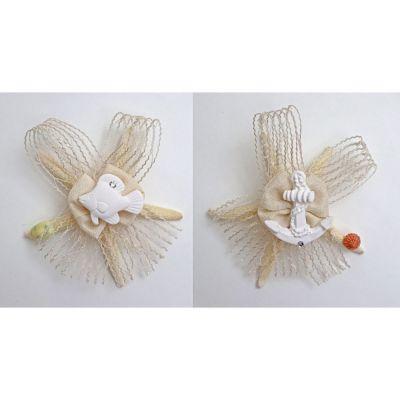 1 PZ Stella marina fiocco rete coccardina e gessetto BOMBONIERA
