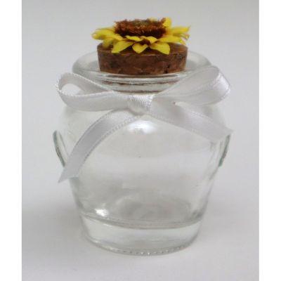 Barattolino vetro portaconfetti anfora con girasola e tappo sughero