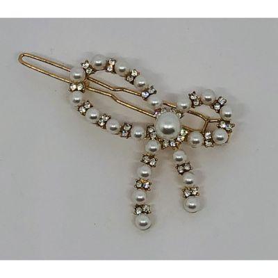 Molletta Pinza a forma di Fiocco con perle DECORAZIONE BOMBONIERA
